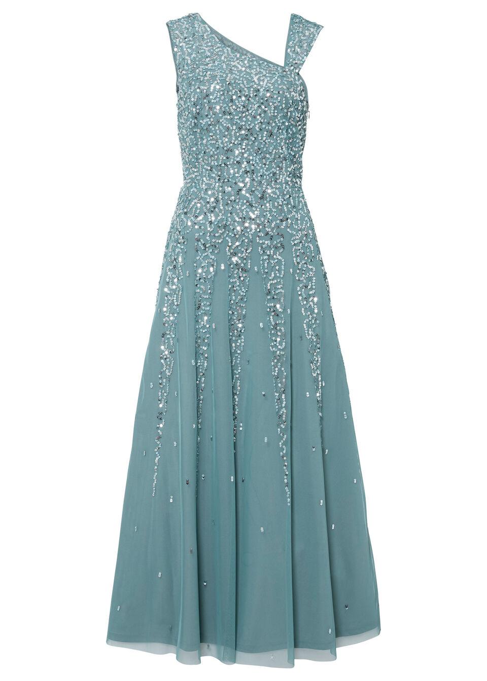 Długa sukienka z cekinami bonprix szaro-niebieski