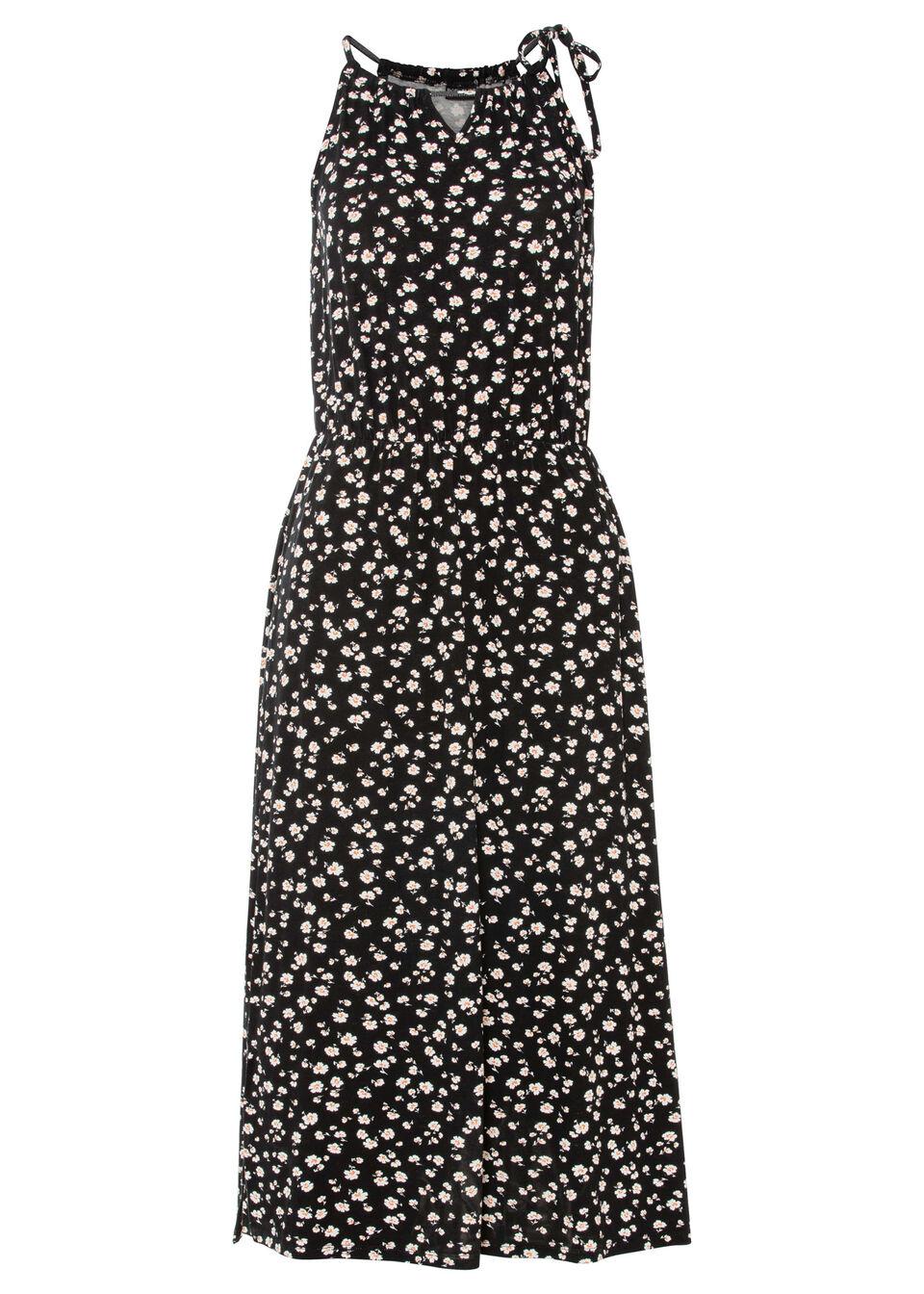 Sukienka midi z nadrukiem, z przyjaznej dla środowiska wiskozy bonprix czarny w kwiaty