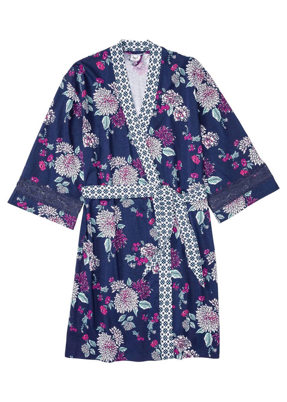 Szlafrok shirtowy kimono z bawełny organicznej bonprix kobaltowy w kwiaty
