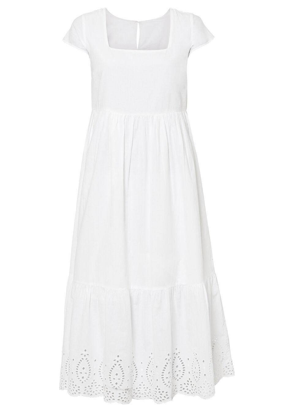 Sukienka midi z ażurowym haftem bonprix biel wełny