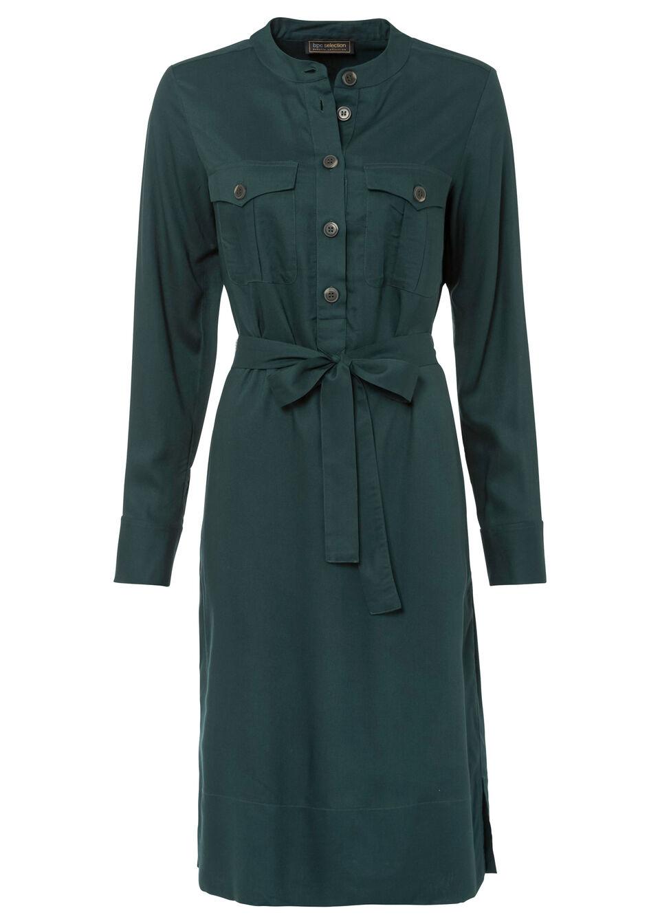 Sukienka szmizjerka z paskiem bonprix zielony