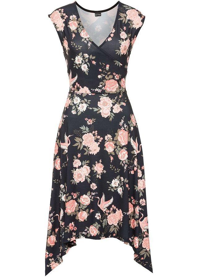 Asymetrické šaty  Must have koralová-čierna kvetinová • 24.99 € • bonprix 6bb8ac33109
